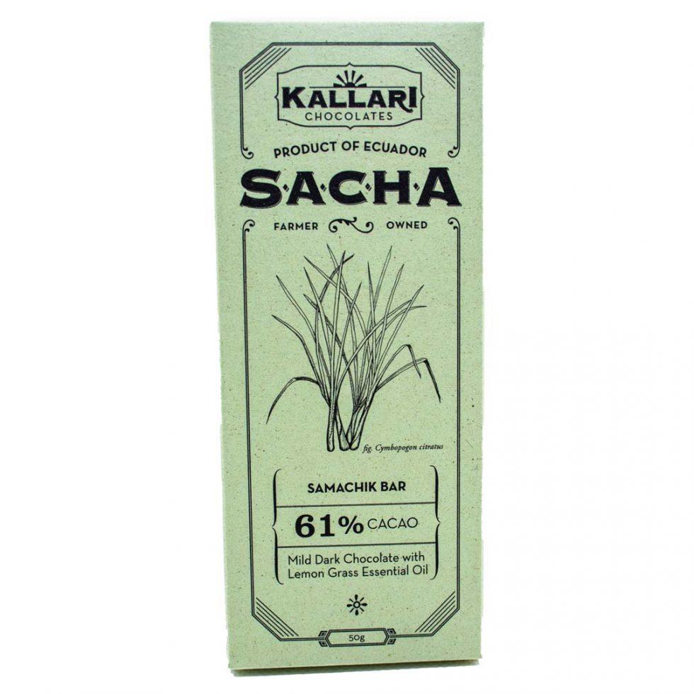 Schokolade 61% Kakao, SACHA Samachik (Zitronengras)