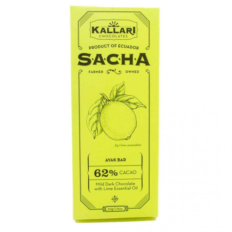 Schokolade 62% Kakao, SACHA Ayak (Zitrone)