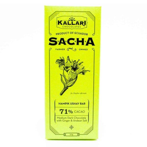 Schokolade 71% Kakao, SACHA Hampik Ushay (Ingwer & Andensalz)