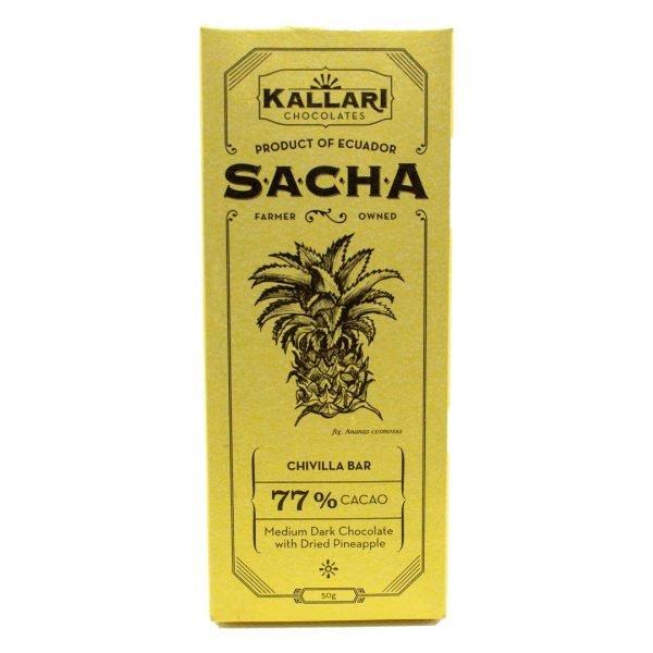 Schokolade 77% Kakao, SACHA Chivilla (Getrocknete Ananas)