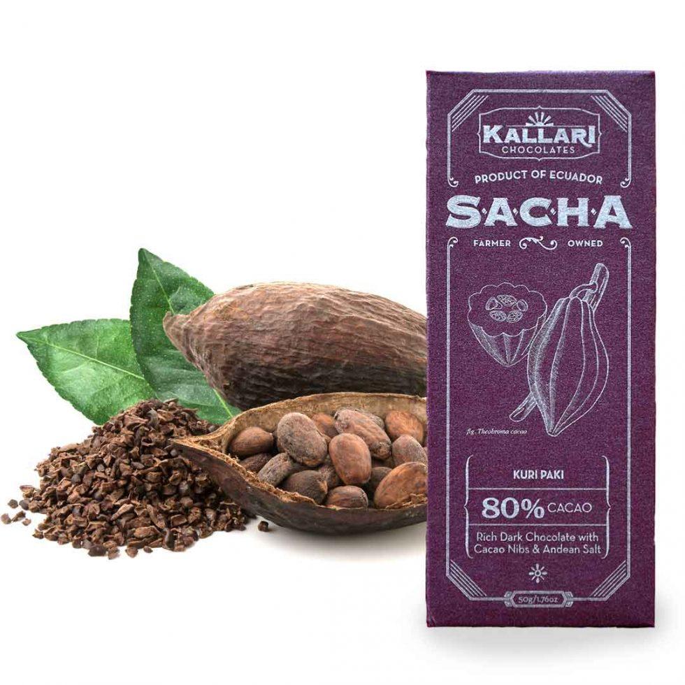 Schokolade 80% Kakao, SACHA Kuri Paki (Kakaonibs)