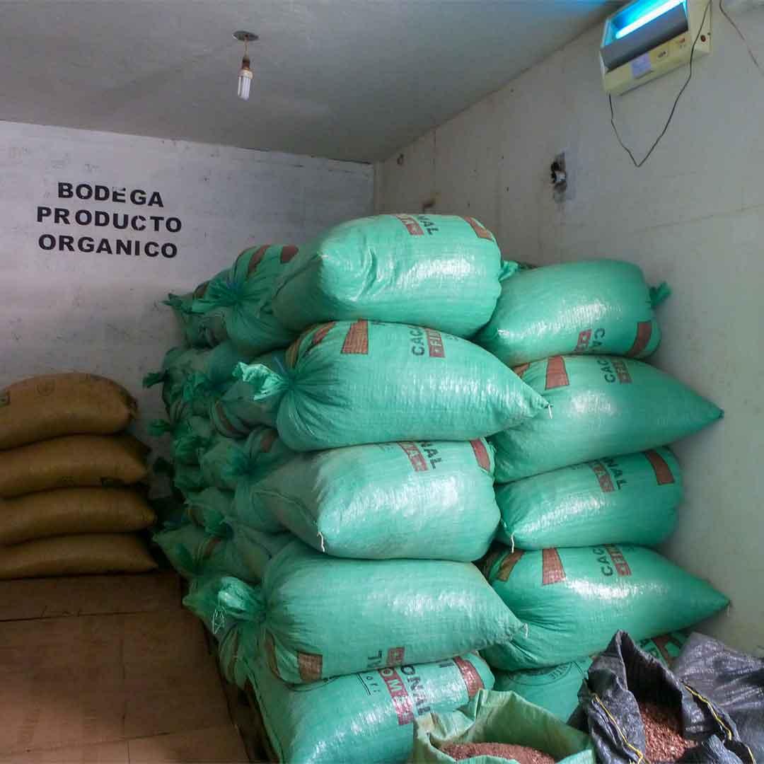 Kakaobohnen-anschließend-in-große-Säcke-verpackt
